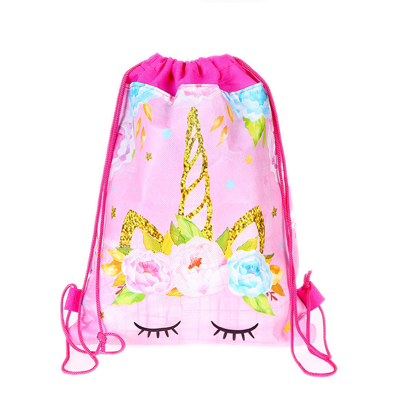 1pcslot Cute Unicorn Drawstring Pocketbag Unicorn Print Backpack Open Student Day Party Supplies Draw Pocketbag Girl Gift