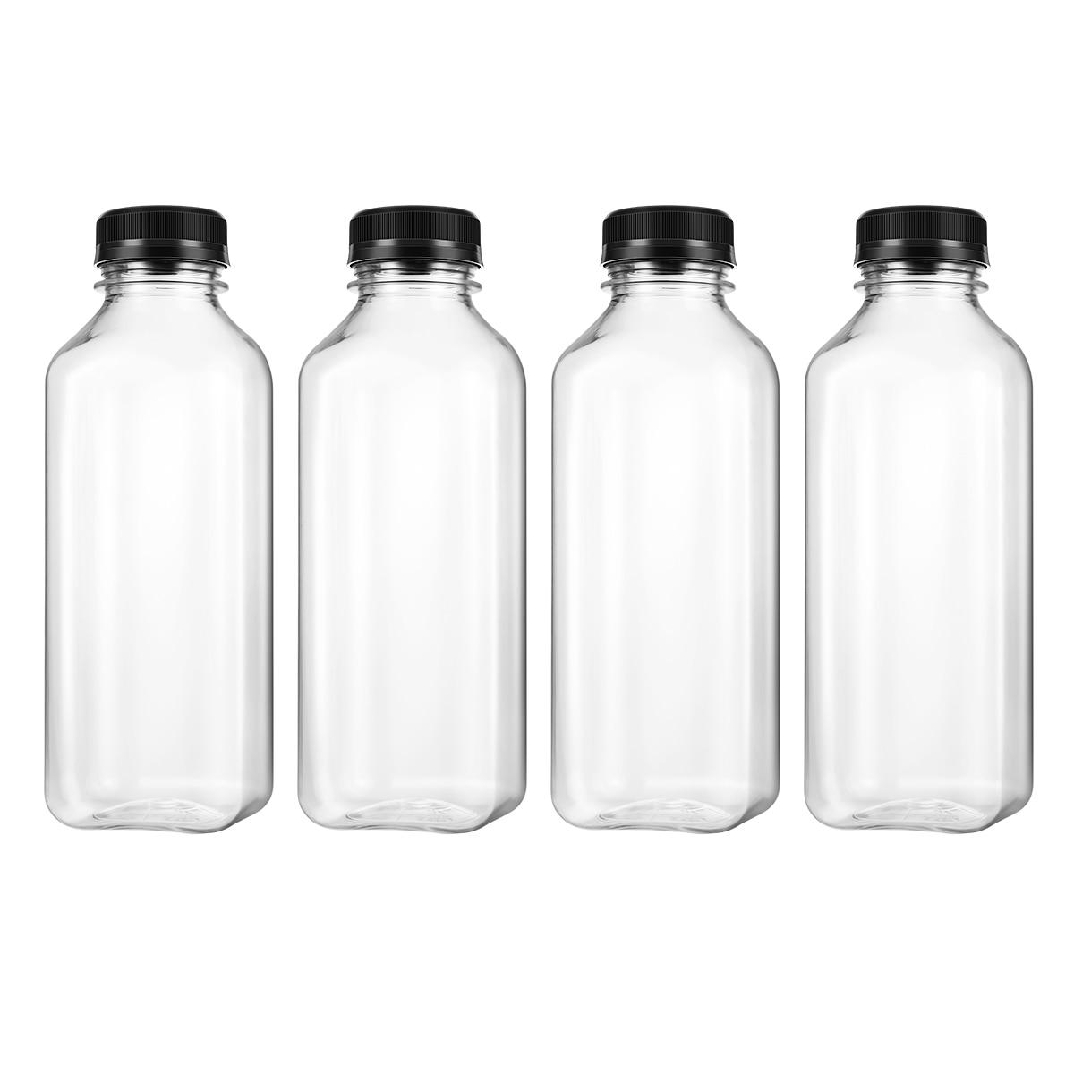 4 adet PET plastik boş saklama kapları şişeleri kapaklar içecek içme şişesi meyve suyu şişesi kavanoz (siyah)