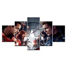 Movie Avengers Civil War HD Print 5 Panel Infinity War Superheroes Wall Art Picture Home Decoration Living Room Canvas Paintings свитшот print bar civil war shield