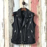 Natural sheepskin leather vests women studs zipper real leather waistcoats 2018 autumn winter