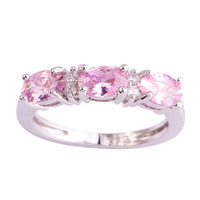 lingmei Wholesale Sweet Lady Pink Topaz & White Sapphire 925 Silver Ring Size 6 7 8 9 10 11 12 Love For PROMISE New Women Gift