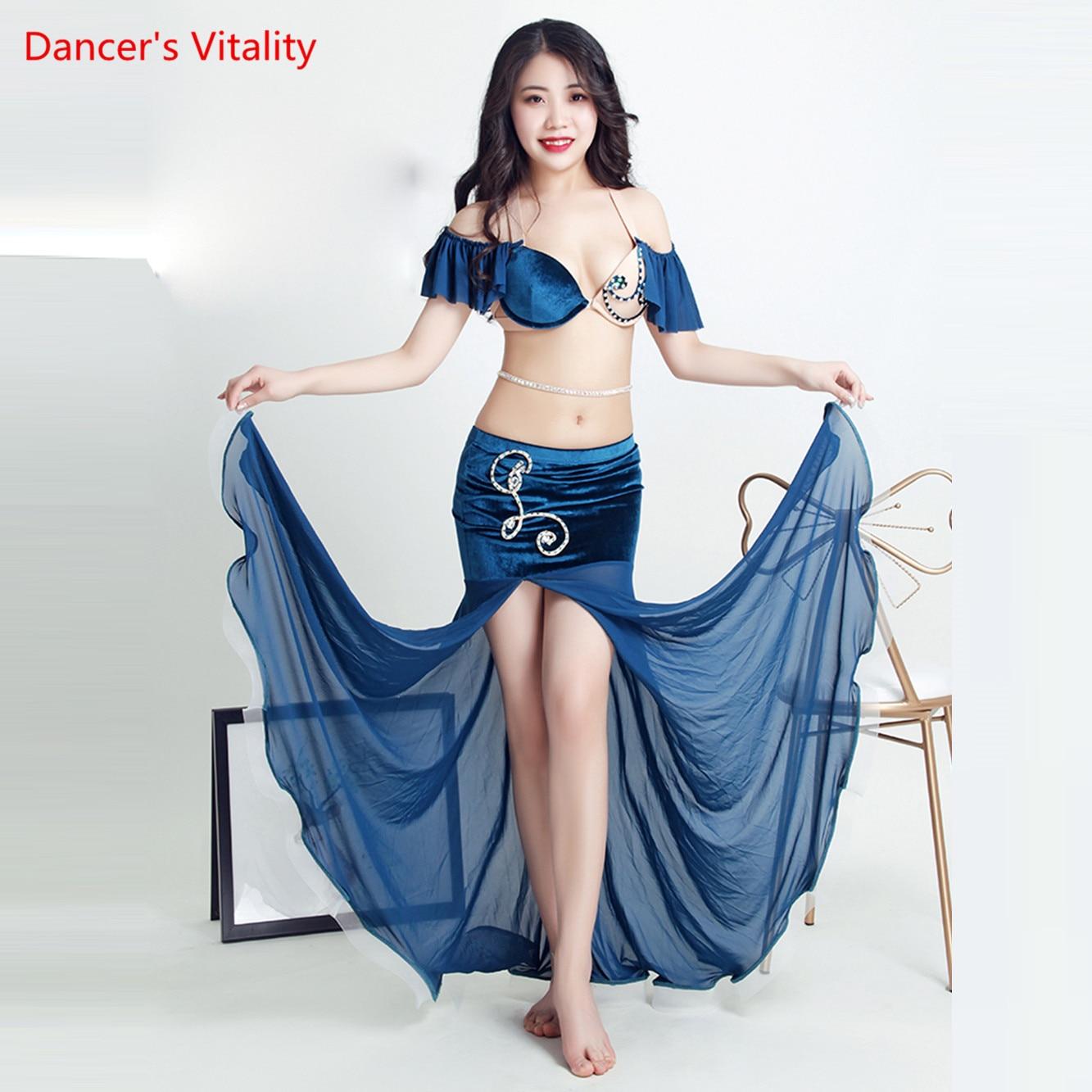 New Belly Bance Costume Suit Beginner Oriental Dance Dance Performance Clothing Sexy Bra+Split Long Skirt