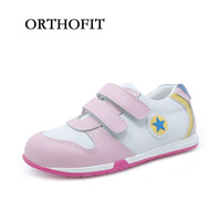 Latest Fashion Design Girls Orthopedic Sport Shoes Pink Cow Genuine Leather Casual Footwear Running Shoes For