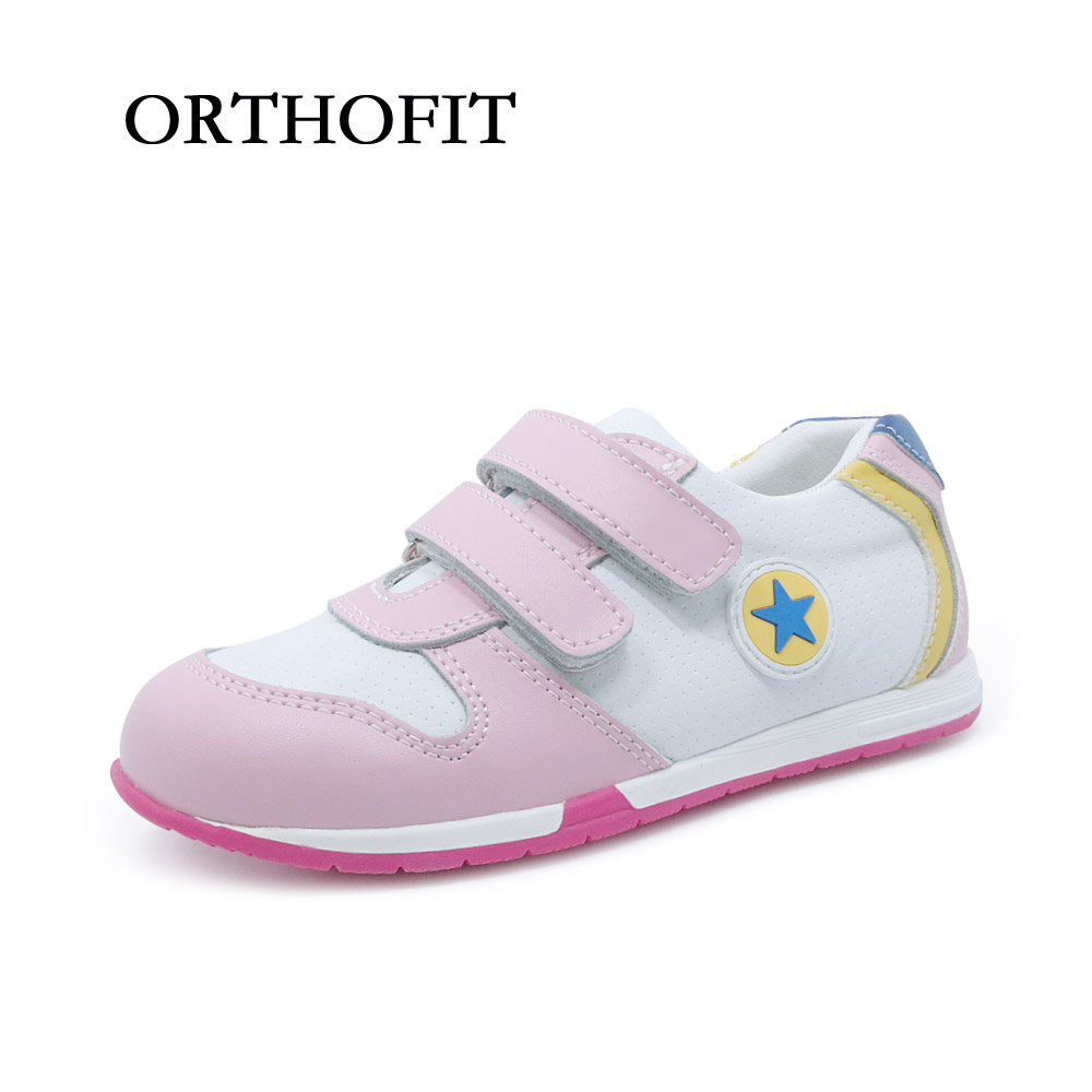 2018 fashion design girls lovely orthopedic sport shoes child pink cow genuine leather tennis running shoes for kids