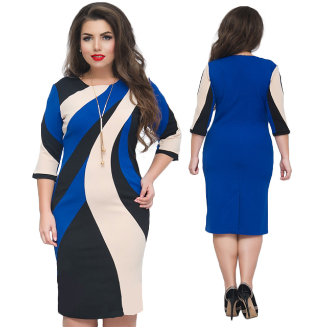 2018 Summer Dress Colorblock Printed Plus Size Women Dress Bodycon