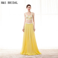 H & s laço nupcial applique duas peças vestidos de baile com tiras sexy backless evening dress amarelo long party dress custom made