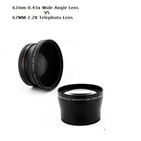 67MM 0.43X Wide Angel&Macro Lens+2.2X Telephoto Lens for Canon Nikon OLYMPUS Pentax Sony All 67mm UV Filter Thread Lens