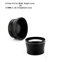 67MM 0.43X Wide Angel&Macro Lens+2.2X Telephoto Lens for Canon Nikon OLYMPUS Pentax Sony All 67mm UV Filter Thread Lens