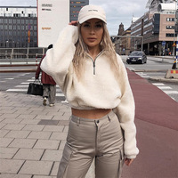 new style casual pullover solid white woman fleece hoodies winter 2019 long sleeve turtleneck female sweatshirt