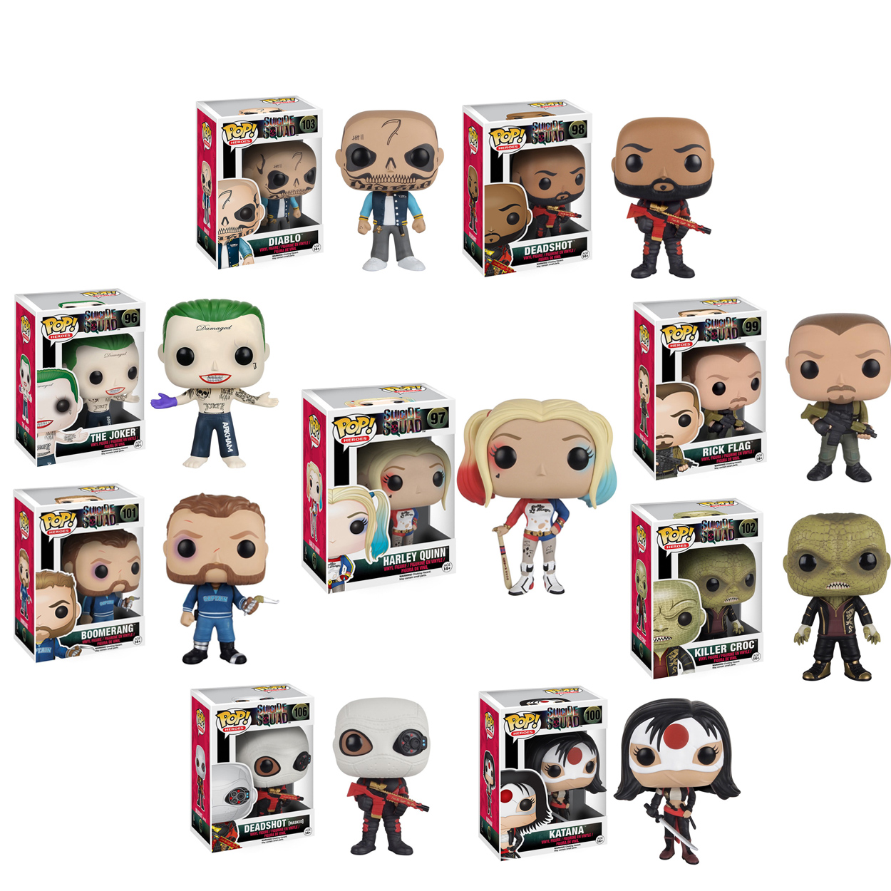 Funko <font><b>Pop</b></font> Original <font><b>Suicide</b></font> <font><b>Squad</b></font> Boomerang Joker Harley Quinn Deadshot Rick <font><b>Killer</b></font> <font><b>CROC</b></font> Katana Collectible <font><b>Vinyl</b></font> <font><b>Figure</b></font> Model