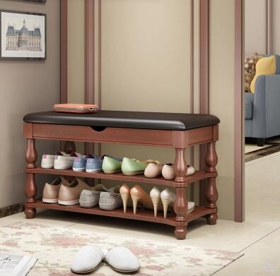 American solid wood shoe bench shoes cabinet door shoe bench entrance can sit shoe rack hall simple bed tail storage stool.