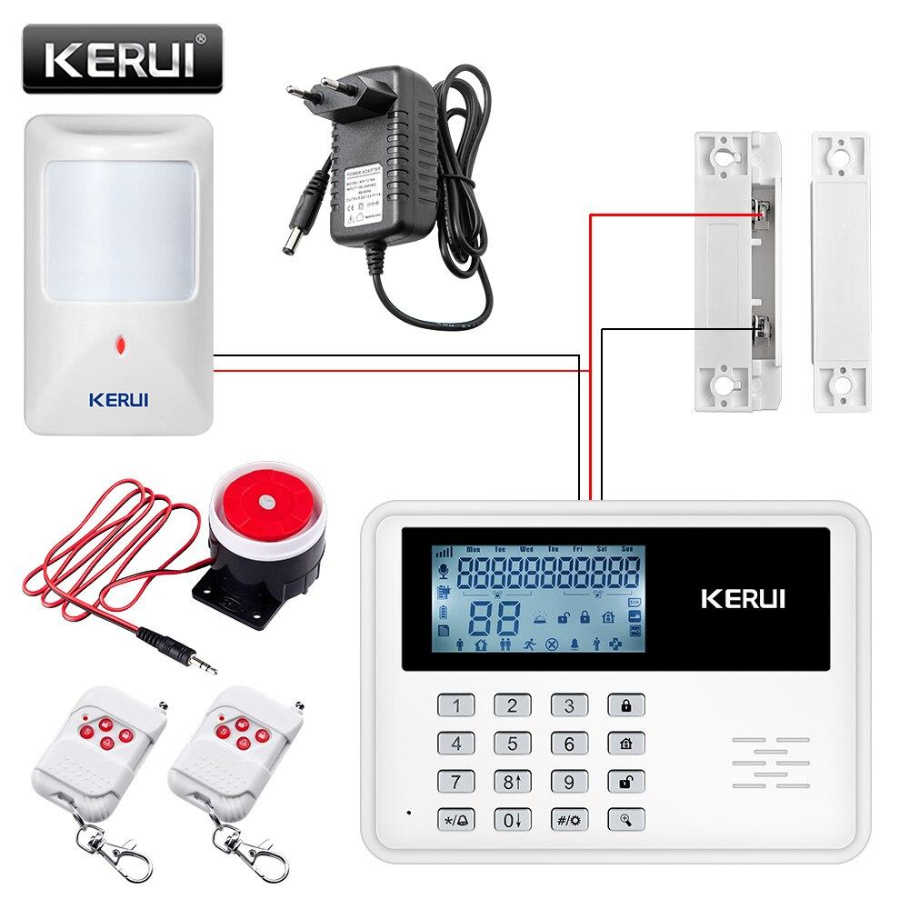 GSM Сигнализация Беспроводной Домашней Безопасности Системы Сигнализации Сигнализация APP Управления ЖК-Клавиатура С Проводной Детектор Движения Датчик Двери