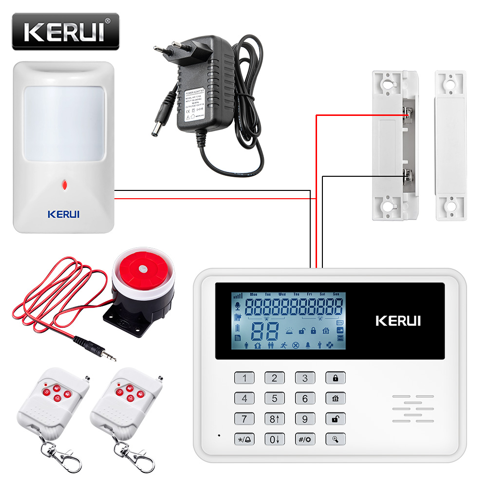 GSM Alarm System Wireless Alarm Systems Security Home Alarm APP Control LCD Keyboard With Wired Motion Detector Door Sensor fuers smart app control wireless wired home gsm sms security alarm system auto dial with infrared detector door open reminder