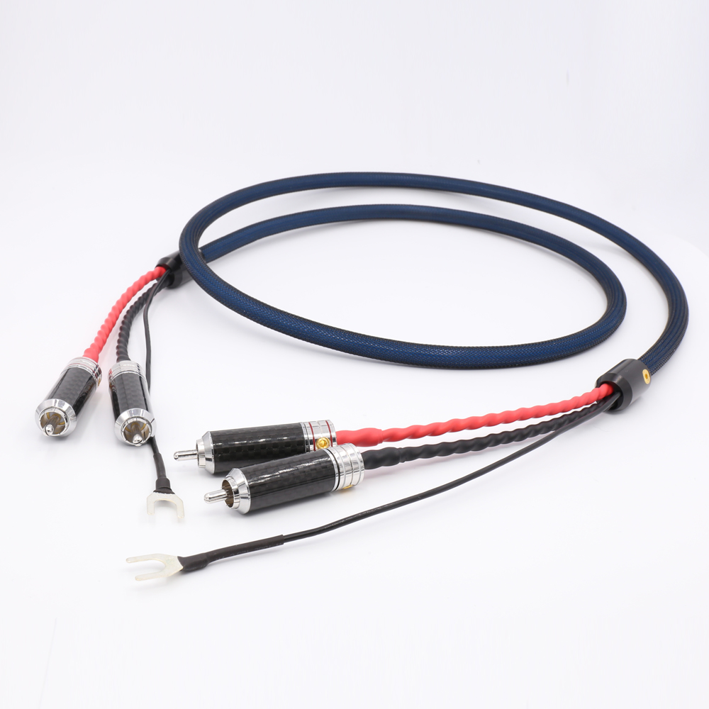 Viborg 5N OFC câble de tonalité plaqué argent câble rca à rca haut-parleur