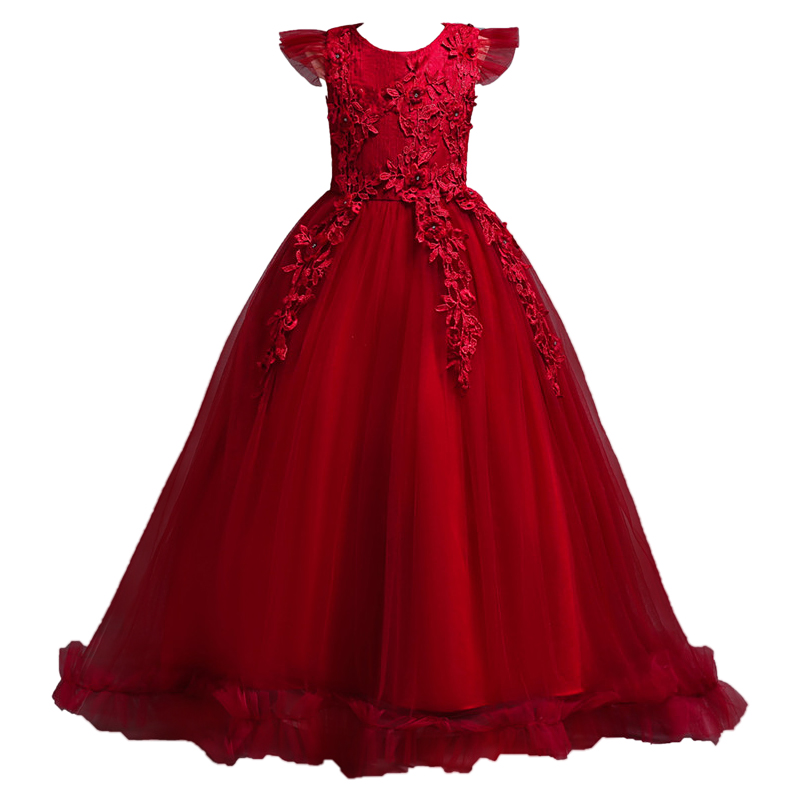 4-14 Years Kids Dress for Girls Wedding Tulle Lace Long Girl Dress Elegant Princess Party Pageant Formal Gown for Teen Children 4-14 Years Kids Dress for Girls Wedding Tulle Lace Long Girl Dress Elegant Princess Party Pageant Formal Gown for Teen Children