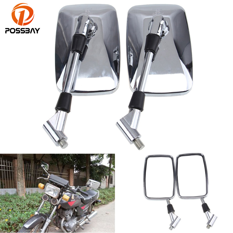 POSSBAY 10mm Chrome Motorcycle Mirror Rear View Mirror Square For Yamaha Honda CT110 XR250L Cafe Racer Bike Motorcycle Mirrors ...