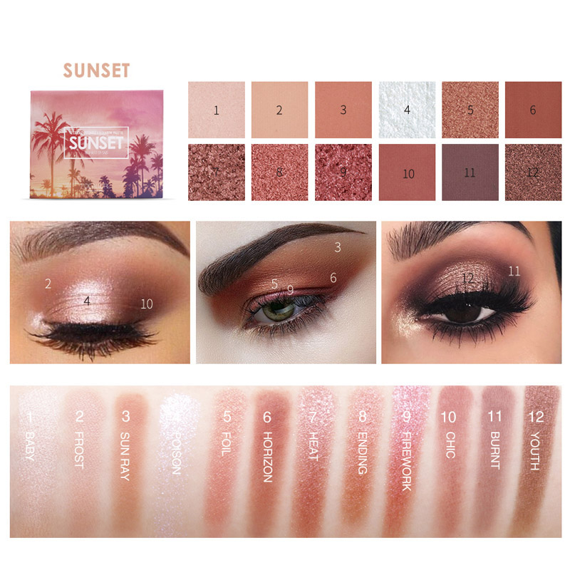 2018 12 Colors Eyeshadow Palette With Brush Mirror Makeup Eye Shadow Powder  Cosmetics-in Eye Shadow from Beauty & Health on Aliexpress com | Alibaba