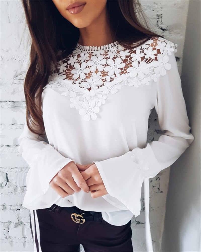 392583389f1 ... 2018 Для женщин сезон  весна–лето блузка Новый плюс Размеры с длинными  рукавами Топы ...