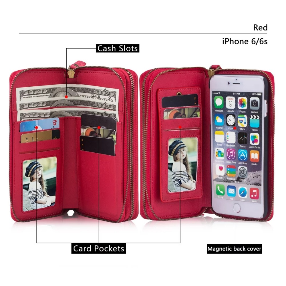 New Removable Vintage Leather Ultimate Wallet Phone Case In Pink Black Red Tan For iphone 6 6s 6Plus 7 7Plus Cover Card Package