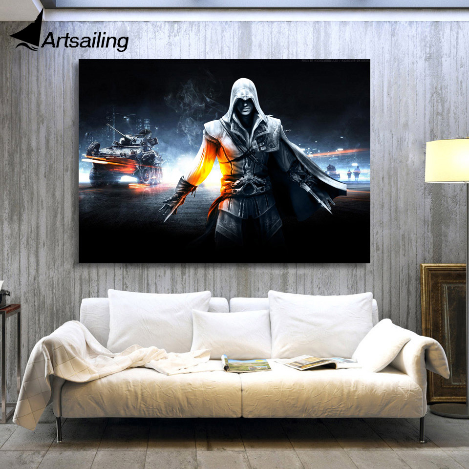 1 Piece Canvas Art Canvas Painting Warrior War City Tank HD Printed Wall Art Home Decor Poster Pictures for Living Room XA1472C