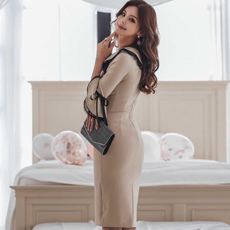 H Han queen элегантное кружевное лоскутное платье-карандаш с круглым вырезом для женщин 2019 весеннее облегающее платье с расклешенными рукавами облегающая Рабочая одежда Vestidos