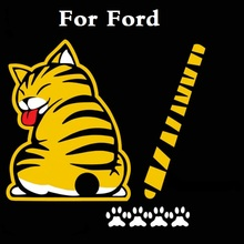 Cartoon Funny Cat Moving Tail Decals Decor Car Sticker For Ford Fiesta Fiesta ST Five Hundred Flex Focus RS Focus ST Freestyle