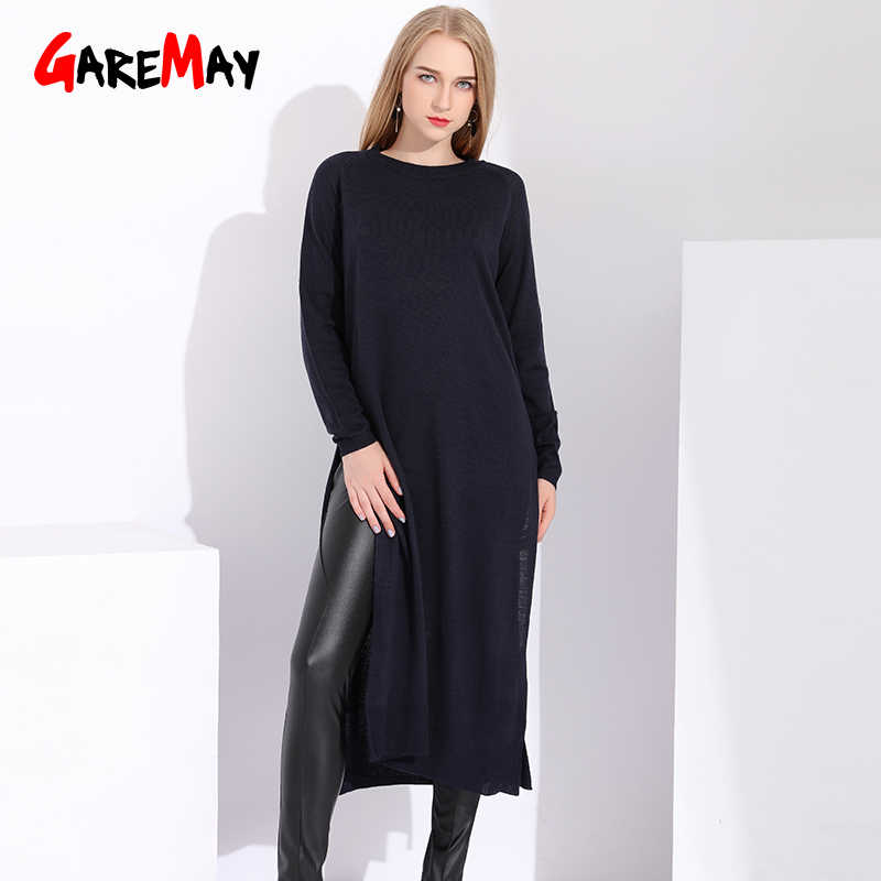Long Knitted Sweater Women Fashion Autumn Outwear Sweaters For Women Ladies Pullovers Thin Side Slit Sweater Dress Women's