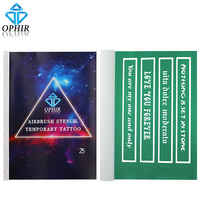 OPHIR Airbrush Stencils English Templates for Temporary Tattoo Body Painting Art Booklet Set 100 Patterns_STE25