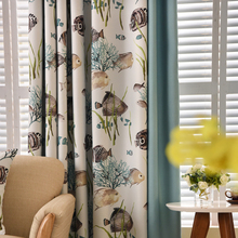 American style Tropical Fish blackout curtains for bedroom sea fish black out window curtains for living