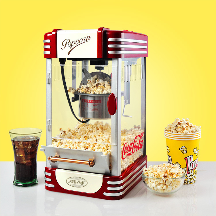Mini Household Electric Popcorn Maker Machine Automatic Red Corn Popper Natural Hot Air Popcorn Maker corn Home use For kids popcorn popper machine household popcorn maker retro style corn popper 2 5oz rocking type kettle