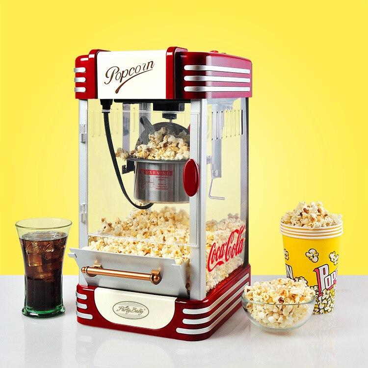 Popper Milho Máquina de Pipoca Elétrica do Agregado Familiar automático Vermelho Natural Hot Air Popcorn Maker milho uso Doméstico Para crianças