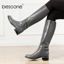 BESCONE Casual Ladies Knee-High Boots Genuine Leather Zipper Metal Decoration Shoes Round Toe Square Med Heel Women Boots BA2 msfair round toe square heel women boot fashion metal zipper med heel ankle boots women shoes winter genuine leather boots women