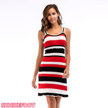 цена на SXHIKEFOOT!!!  Pleated wooden ear strap dress stripe colour matching hem slit dress summer new knitted bag hip dress