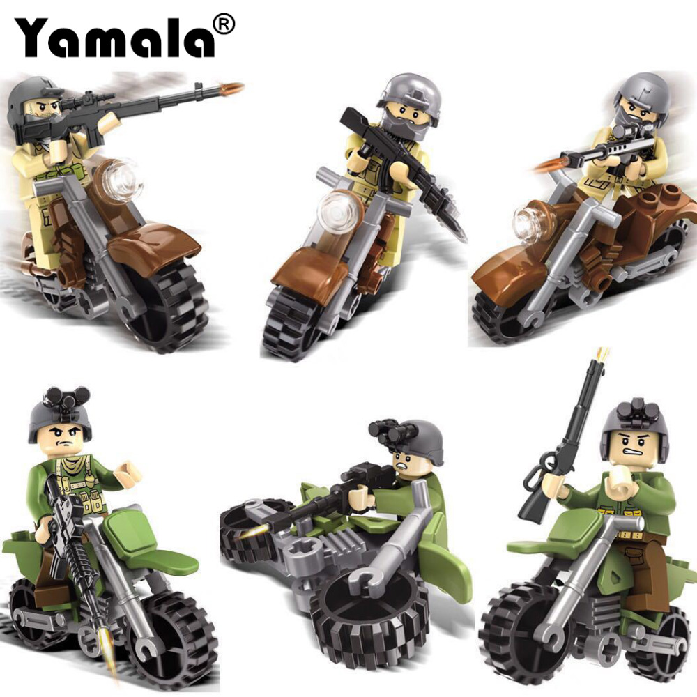 [Yamala]Military Swat  Weapons Pack Army soldiers building blocks Arms City Police Legoingly Military Series For Kids Compatible 6pcs swat military army riot police officer special weapons minifigures building blocks bricks kid baby boy toys