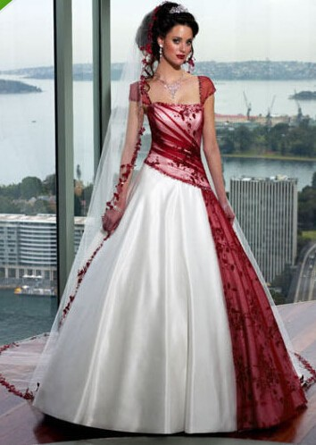 Robe de Mariage White And Red Wedding Dresses A Line Stain Corset ...