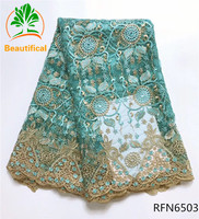 Beautifical Rhinestone African Tulle Lace Fabric 2017 High Quality Nigerian Lace Fabric With Embroidery For Dress