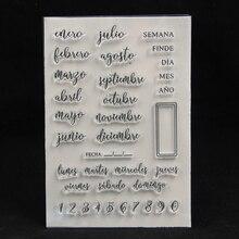 ZFPARTY Spanish Monthes прозрачный силиконовый штамп для скрапбукинга/декоративная открытка для альбома