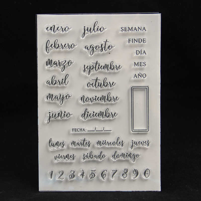 ZFPARTY Spanish Monthes Transparent Clear Silicone Stamp for DIY scrapbooking/photo album Decorative card making