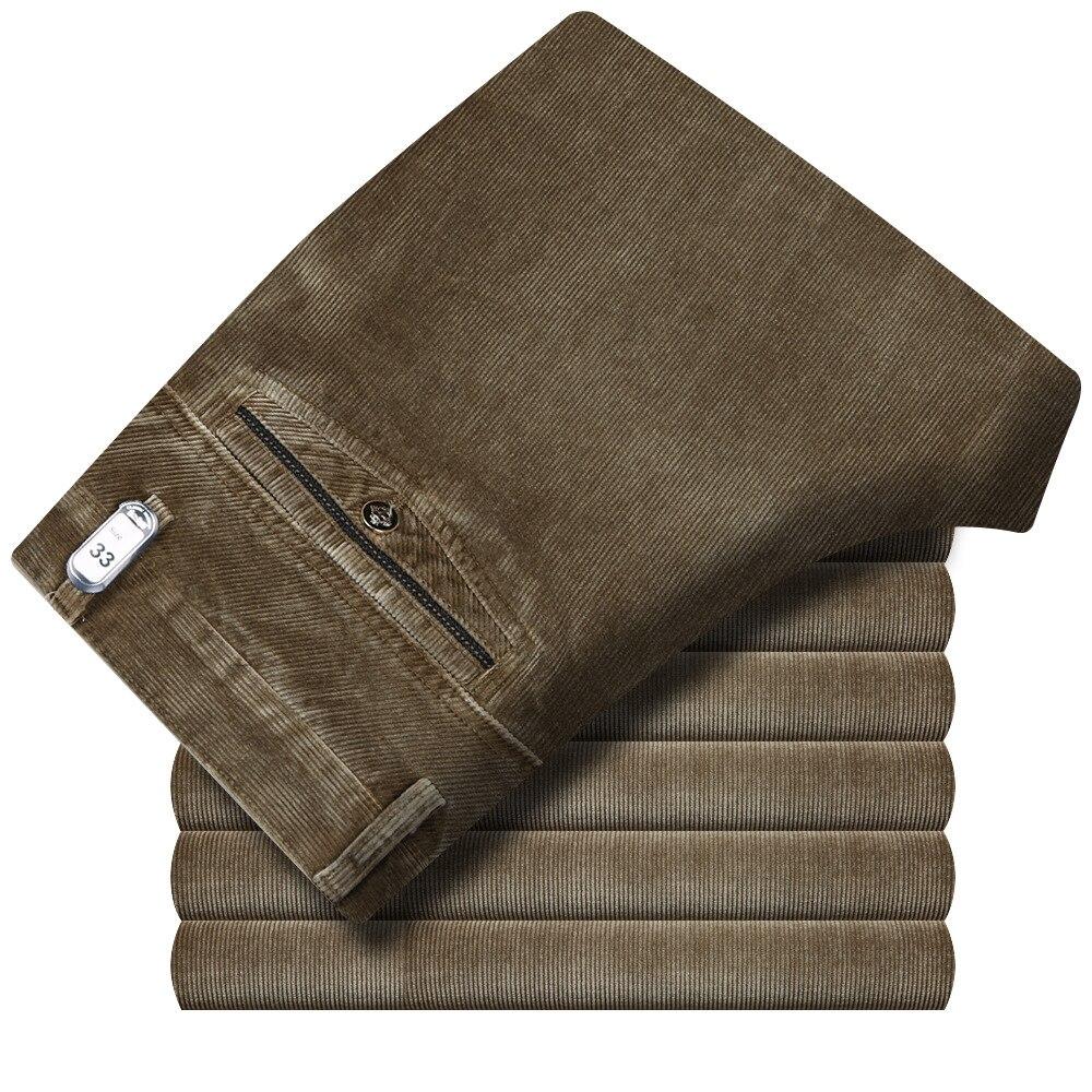 Article Autumn Winter Middle Aged Straight Elastic Men Corduroy Trousers Men's Thicken Corduroy Pants High Waist Loose Slacks