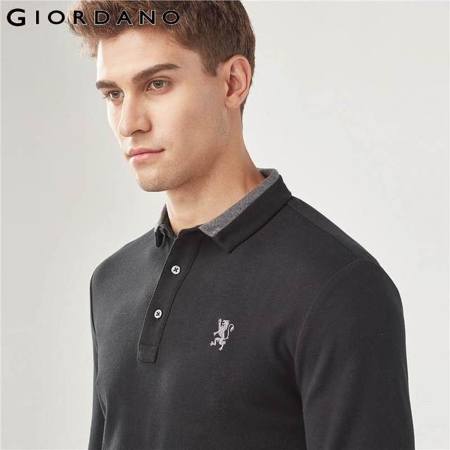 Giordano Men Polo Shirt Men Embroidery Lion Polo Men Long-sleeve Men Polo Shirts Slim Fit Polo Homme Warm Stylish Camisa Winter 3