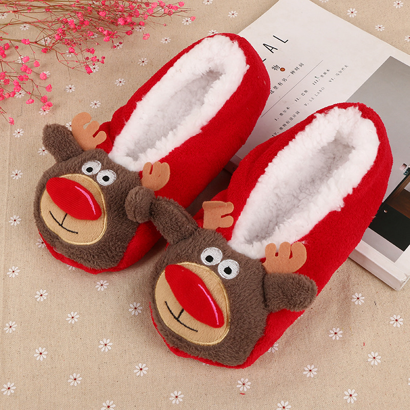 New Winter Women Warm Bottom House Shoes Woman Flannel Indoor Floor Plush Bedroom Elastic Home Slippers/Sock Christmas Stockings plush winter slippers indoor animal emoji furry house home with fur flip flops women fluffy rihanna slides fenty shoes