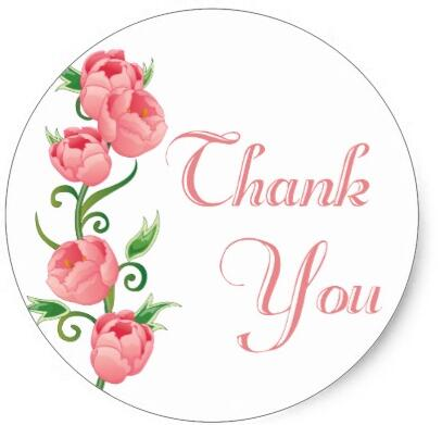 1.5inch Floral Thank You Pink Rose Flower Sticker Seal|seal ...