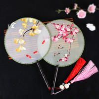 high quality Summer Vintage Chinese Embroidery Round Fans Luxury Hand Held Home Decor Dance Fans Silk Decoration Fans