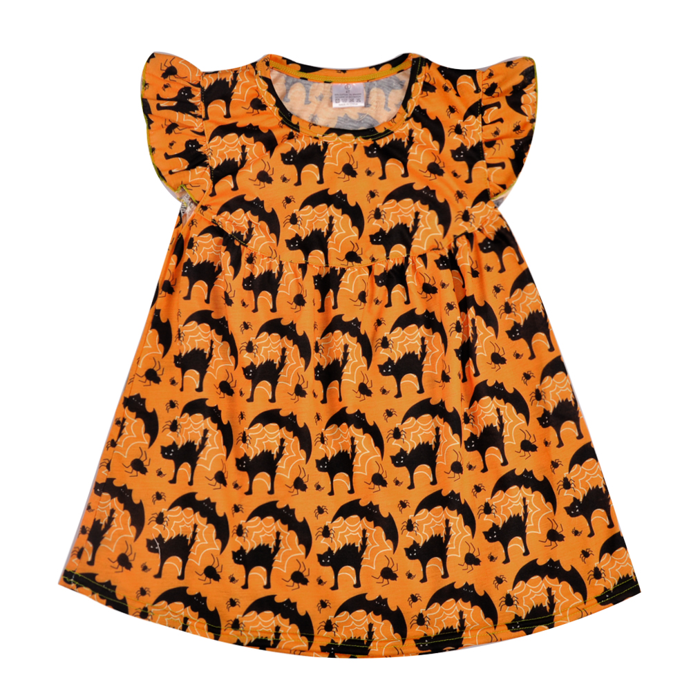 Remake Flutter sleeve Summer Monkey Pattern Dress Children Cute Party Clothing Kids Clothes For Bulk Wholesale GSY806-065