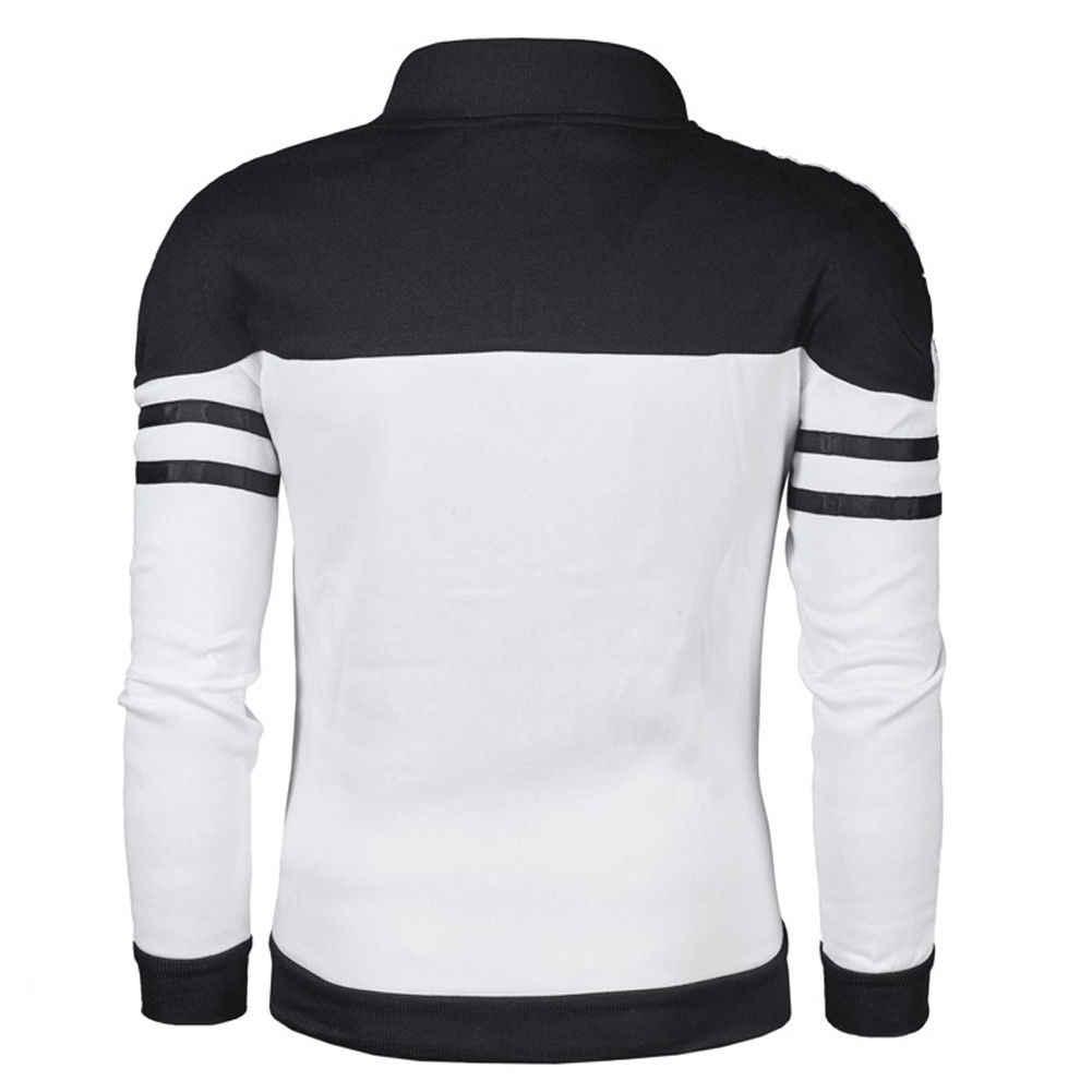 Nieuwe mannen Casual Slim Plain Hoodie Jas Fleece Zip Up Zakken Sweatshirt Hooded Rits Gestreepte Tops Plus Size Casual jas