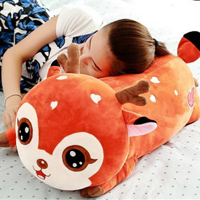 Fancytrader Big Kawaii Plush Sika Deer Toys Soft Stuffed Animals Deers Pillow Doll 80cm for Children and Adult fancytrader biggest in the world pluch bear toys real jumbo 134 340cm huge giant plush stuffed bear 2 sizes ft90451