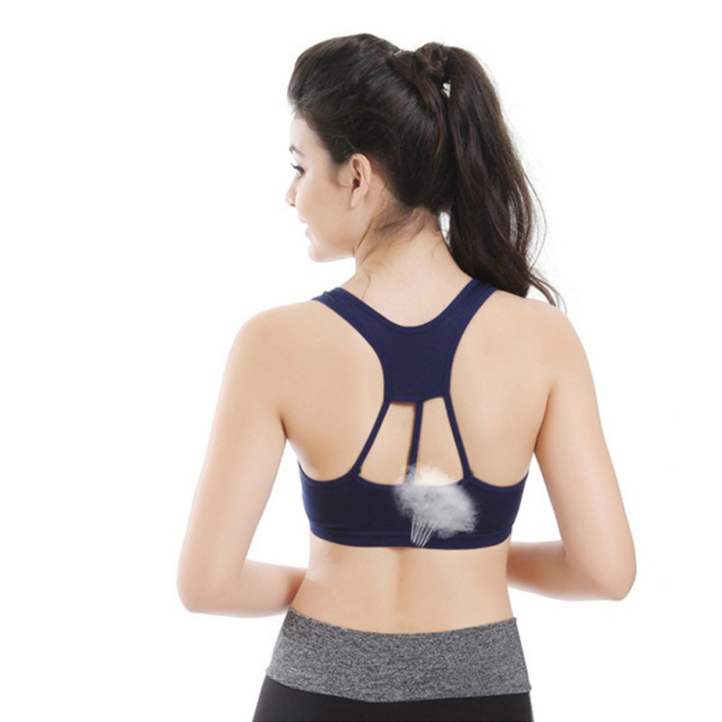 New 2018 Breathable Sports Bra Hollow Out Side Striped Bras Cup Full Racer Back Fitness Cotton Push Up Bra W3