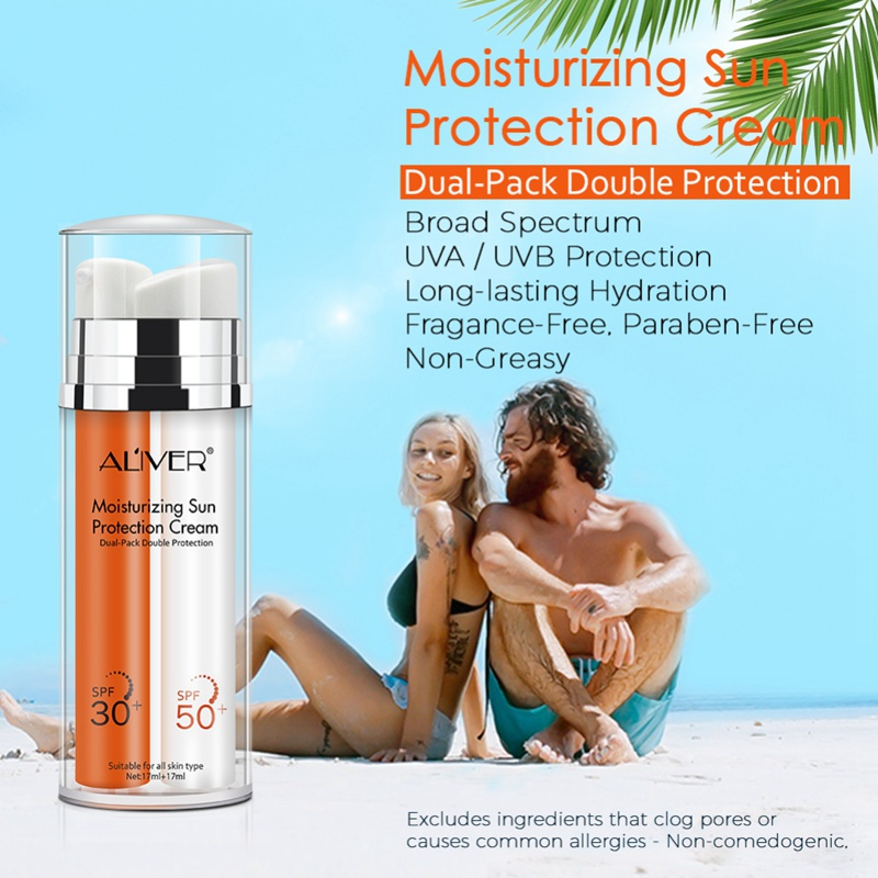 ALIVER Moisturizing Sunscreen Refreshing Isolation Protective Facial Body UVDdouble Tube For Men And Women Outdoor Use Hot Sell(China)