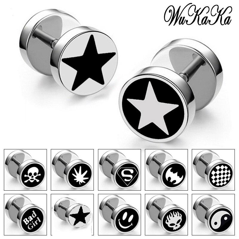 cc3848c5f Punk Men Stainless Steel Ear Studs Earrings Smiley Skull head Barbell  Dumbbell Black Plated Men Earings fashion 2018 Men Jewelry-in Stud Earrings  from ...