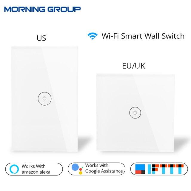 Control remoto de la aplicación móvil del Panel de cristal del Interruptor táctil de la pared inteligente Wifi nos UE Reino Unido